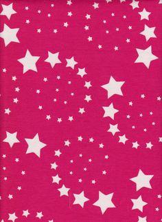 4c6ddf4beca SWIRL STARS on Fuchsia Cotton Lycra Jersey Content: 95% Cotton 5% Lycra  Jersey