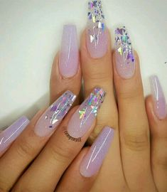 Purple Acrylic Nails, Summer Acrylic Nails, Best Acrylic Nails, Purple Nails, Brown Nails, Blush Nails, Ombre Nail Art, Purple Wedding Nails, Pink Ombre Nails