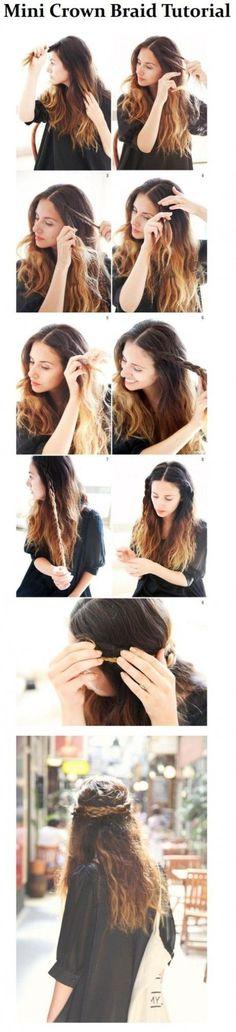 Tutorial for braiding the hair crown