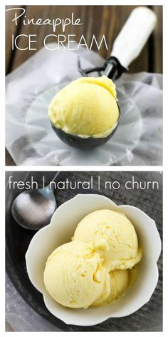 Easy Pineapple Ice Cream Make creamy, sweet, delicious ice cream with only a frozen pineapple, a dash of salt and a bit of maple syrup! Make it right in your food processor, no ice cream machine required. Ice Cream Desserts, Köstliche Desserts, Frozen Desserts, Ice Cream Recipes, Frozen Treats, Ice Cream Machine Recipes, Homemade Ice Cream Machine, Frozen Cookies, Frozen Cake