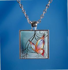 Made to Order Whimsical Butterflies Silver Square Glass Cabochon choice of four designs Necklace / Key ring / Bracelet    ET   9093336 by JnJHandmadeGifts on Etsy