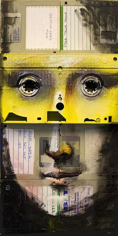 """Nick Gentry, """"THE REPRODUCTION NUMBER 3"""", Mixed paint on used computer disks and VHS tape, 2009"""