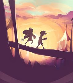 Dipper and Mabel sunset