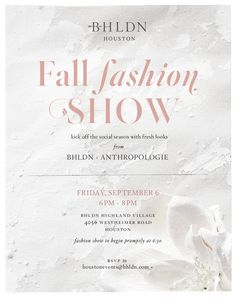 Oliver moore tom ford invitation invitation cards pinterest join us on september 6th from 6 8pm for a fall fashion show with anthropologie in our houston store kick off the social season with fresh looks stopboris Choice Image