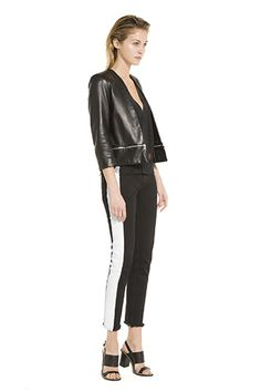 Gussy up sporty-accented pants with a rich, leather jacket and stylish sandals for an evening of drunken debauchery with your crew. Sandro Voeu Zip Around Leather Jacket, $855, available at Sandro.