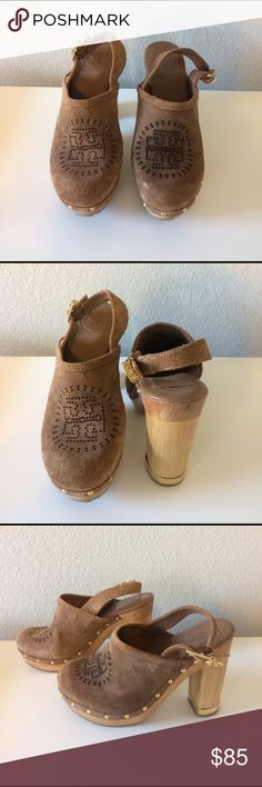 Tory Burch suede platform miles Suede miles with wooden platform and gold studs, can be worn year-round, gently used (only worn a few times) Tory Burch Shoes Mules & Clogs
