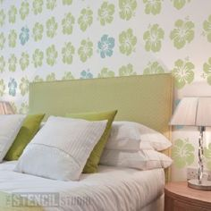 Hibiscus Repeat Pattern Stencil - Buy reusable wall stencils online at The Stencil Studio