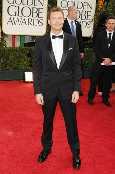 Ryan Seacrest wearing Burberry tailoring to the 2012 Golden Globe Awards