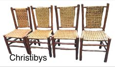 Matching set Old Hickory signed skip weave dining chairs. Exc all original condition SOLD Christibys