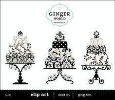 Black damask luxe Wedding Cake clip art digital illustration printable for DIY invitation scrapbooking (CA153)