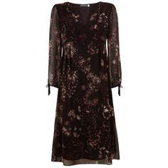 Mint Velvet Alisa Print Midi Dress, Multi ($58) ❤ liked on Polyvore featuring dresses, long-sleeve midi dresses, midi dress, 3/4 sleeve dresses, floral fit-and-flare dresses and floral midi dress
