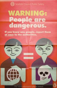 "During the People Purges of 1974 and 1975, the many people who peopled Scarfolk were alarmed to learn that they were now the kinds of people that the government classed as ""people."""