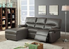 """Artha Gray Sectional Sofa 51560 $598 Features : Wood & Metal Frame KD Back Motion Mechanism Pocket Coil Seating Dimension : Sectional Sofa: 63""""L x 30"""" x 38""""H"""