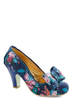 I do not  know what I would wear these with but they are soo cute! This shape is so hard to find.  Storybooking It Heel, #ModCloth