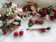 polymer clay strawberry accessories