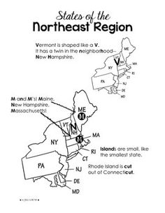 United States Map Study Guide.North East Region States And Capitals Northeast Region States And