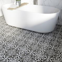 British Ceramic Tile Victoriana feature black matt tile x Cheap Bathroom Flooring, Bathroom Floor Tiles, Tile Floor, Loft Bathroom, Bathroom Furniture, Black Tile Bathrooms, Victorian Style Bathroom, Tiles Uk, Bad Inspiration
