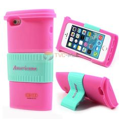 Americano #Coffee Cup Case for #iPhone 5s with Straw Dust Plug - #Cyan / Rose
