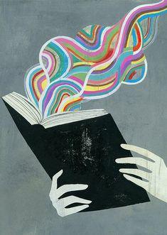 magic book illustration by Olaf Hajek