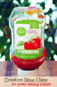 Creative New Uses for Plastic Ketchup Bottles.  Learn to reuse and upcycle for frugal and green living!