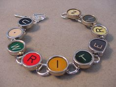 Typewriter key Jewelry Bracelet  spells WRITER  by magiccloset, $48.00