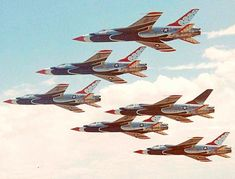 Six ship formation of the USAF's Thunderbirds.