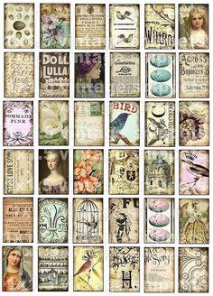 collage sheet digital download printable images ViNTaGe SNiPPeTs 1 x 1.5 WHiMSiCaL BiRDs FlueR De LiS postcards domino pendants sh02 on Etsy, $3.98