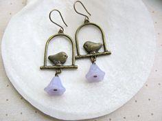 Bird earrings Light Purple Bell Flower by HappyTearsbyMicah, $13.00