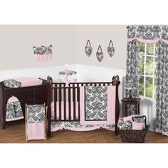 11pc Crib Bedding Set for the Sophia Collection by Sweet Jojo Designs, Black