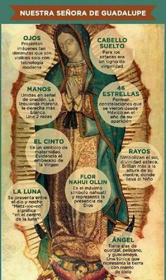 Symbols in the image of Our Lady of Guadalupe Catholic Prayers, Catholic Art, Religious Art, Roman Catholic, Religious Education, Religious Quotes, Blessed Mother Mary, Blessed Virgin Mary, Madonna