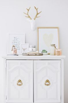 love the dresser. A Heavenly White & Gold Nursery - Style Me Pretty Living Gold Nursery, Chic Nursery, Nursery Neutral, Nursery Decor, Nursery Ideas, Bedroom Ideas, Nursery Rhymes, Nursery Art, Bedroom Decor