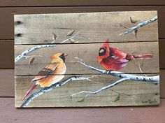 Add a rustic touch to your home decor with this acrylic cardinals painting, showcased on a rustic pallet canvas. Please Note: Painting may vary slightly from the image in the photo, as no two paintings are exactly identical. Dimensions: 10H X 15 W Pallets are well constructed with