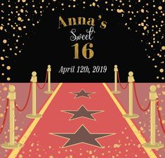 Sweet 16 Step and Repeat Red Carpet Backdrop, Sale Emails, Event Banner, Sweet 16, Repeat, Templates, Stencils, Red Carpet Background, Sweet Sixteen