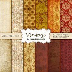 "Vintage Brown Warm Old Wallpaper Digital Paper Pack of 12, 300 dpi, 12""x12"" Instant Download Pattern Paper Scrapbooking, Invites, Cards JPG $2.90"