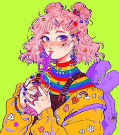 hmm old colour vomit art that i was too lazy to finish Inspiration Art, Character Design Inspiration, Art Inspo, Arte Do Kawaii, Kawaii Art, Aesthetic Art, Aesthetic Anime, Piskel Art, Girls Manga