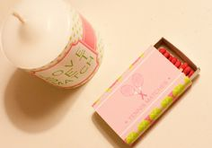 "tennis party: ""Love Set Match"" candle wraps and ""Tennis Matches"" matchbox wraps for party favors"