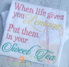 Baby Kay's Appliques - Put Lemons in your Sweet Tea 4x4, 5x7, 6x10, 8x8, $0.75 (http://www.babykaysappliques.com/put-lemons-in-your-sweet-tea-4x4-5x7-6x10-8x8/)