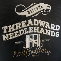 This Axelrad and Threadward Needlehands Stairwell Branding includes reference to two sister companies. Both have catchy company names with interesting logos Catchy Company Names, Made In America, Close Up, Retail, Branding, Logos, Store, Antiques, How To Make