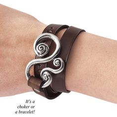 Leather Choker Bracelet ($40) ❤ liked on Polyvore featuring jewelry, bracelets, celtic jewelry, fancy jewellery, leather jewelry, goth jewelry and renaissance jewelry