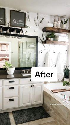 Peel and Stick Wallpaper can do so much in a bathroom! Budget Bathroom, Master Bathroom, Bathroom Ideas, Small Bathroom Storage, Bathroom Organization, Modern Bathroom Design, Bathroom Interior Design, Black Vanity Light, Bathroom Vanity Lighting