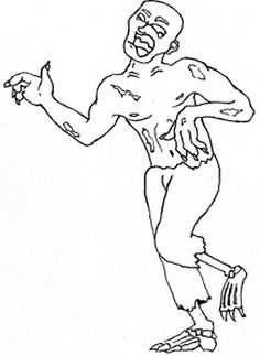 Sinister Cartoon Zombie Coloring Page