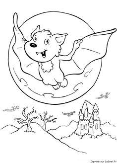 Pleine lune coloriage enfant pour halloween