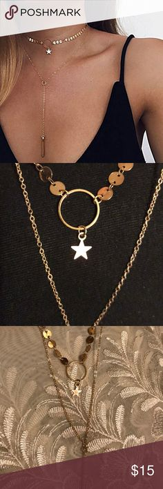 ☀️NEW☀️Star Multi Strand Choker/Necklace Lobster claw clasp. Gold color. Fashion/costume jewelry. As with all merchandise, seller not responsible for fit nor comfort. Brand new boutique retail. No trades, no off App transactions.  ❗️PRICE IS FIRM UNLESS BUNDLED❗️ not disclosed Jewelry Necklaces