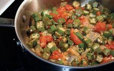 Fresh Okra Sauteed with Garlic, Tomato & Onion