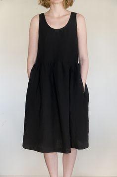 Maida Dress - Irish Linen in Black Handmade in Ireland www. Slow Fashion, Ireland, Irish, Fashion Outfits, Handmade, Inspiration, Clothes, Black, Dresses