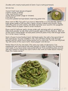 Zoodles with creamy basil pesto & garlic cauli crumb (Opti intensive suitable ) serves two.