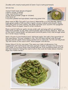 Zoodles with creamy basil pesto & garlic cauli crumb (Opti intensive suitable ) serves two.