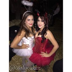 Angel and devil costumes ! The angel was all from basic intimates about 100 bucks. The Devils corset is from Fredericks and tutu is from intimate basics too. #DynamicDuo