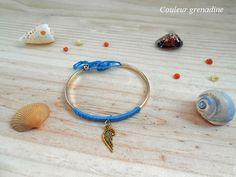 Bracelet jonc tissé laine bleue et breloque plume : Bracelet par couleur-grenadine33