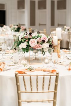 Blush and bright pink lush floral centerpiece with pops of ivory green and burgundy. Gold chiavari chair and peach napkin tied in a knot, The US Grant Hotel wedding, Shawna Yamamoto florals, Details Details wedding planning, Cavin Elizabeth Photography Pink Wedding Theme, Pink And Gold Wedding, Blush Pink Weddings, Wedding Colors, Peach Wedding Decor, Diy Wedding, Pink Wedding Decorations, Orange Weddings, Wedding Mandap